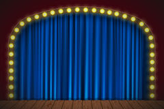 Stage with blue curtain Stock Images