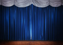 Stage with blue curtain Stock Image