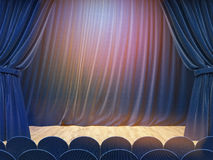 Stage with blue curtains Royalty Free Stock Photo