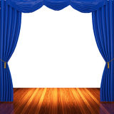 Stage with blue  curtains and spotlight. Royalty Free Stock Photo