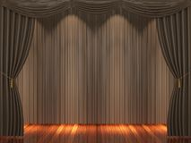 Stage with brown  curtains and spotlight. Royalty Free Stock Images
