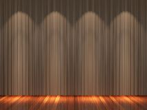 Stage with brown  curtains and spotlight. Stock Photo
