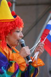 On stage children's clown entertainer. Royalty Free Stock Images