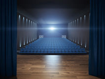 Stage in cinema with blue seats Royalty Free Stock Images