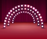 Stage With Circle Light Bulbs Stock Photos