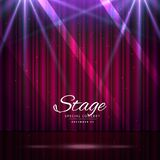 Stage with closed curtains and spotlights. Vector Royalty Free Stock Photo