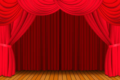 Stage with closed red curtain Royalty Free Stock Photo