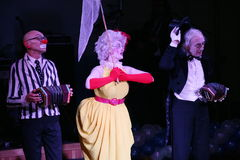 On stage, clowns, mimes, comedians, actors of the troupe of mime theatre mime and clowning, the Licedei Stock Images