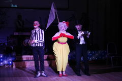 On stage, clowns, mimes, comedians, actors of the troupe of mime theatre mime and clowning, the Licedei Stock Photos