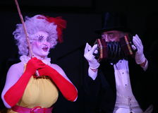 On stage, clowns, mimes, comedians, actors of the troupe of mime theatre mime and clowning, the Licedei. Clown Anna Orlova and clown Robert Gorodetsky perform royalty free stock image