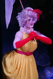 On stage, clowns, mimes, comedians, actors of the troupe of mime theatre mime and clowning, the Licedei. Clown Anna Orlova perform pantomime pop number stock images