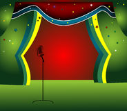 Stage with colored curtain. Abstract colored illustration with colored curtain and microphone Royalty Free Stock Photography