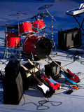 Stage concert. With instruments on the floor Royalty Free Stock Photos