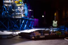 On the stage of a concert. Instruments on the stage of a concert in a club Royalty Free Stock Image