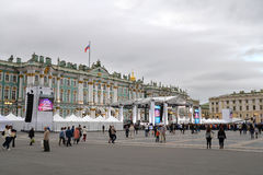 The stage before the concert on Palace square dedicated to the c Stock Photography