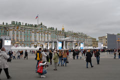 The stage before the concert on Palace square dedicated to the c Royalty Free Stock Images