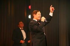 On stage, the crowd favorite, a sparkling singer, singer Edward Hil ( Mr. Trololo ). Stock Photo