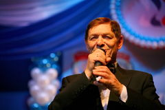 On stage, the crowd favorite, a sparkling singer, singer Edward Hil ( Mr. Trololo ). Stock Images