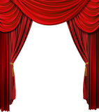 Stage curtain. Old fashioned theater stage velvet curtain over white background Royalty Free Stock Images