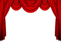 Stage curtain. Theatre stage velvet curtain over white background Stock Photos