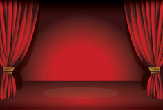 Stage curtain. Illustration of a theatre stage curtain with spot lights