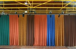 Stage curtain. Multicolor velvet stage curtain texture Stock Images