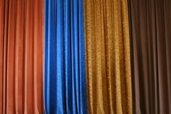 Stage curtain. Beautiful multicolor velvet stage curtain Stock Image