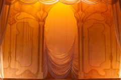 Stage curtain. With light and shadows stock photo