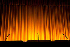 Stage Curtain. Yellow Stage Curtain for background Royalty Free Stock Image