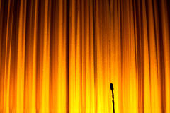 Stage Curtain. Yellow Stage Curtain for background Royalty Free Stock Photography
