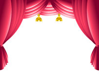 Stage curtain. Theatre stage velvet curtain over white background Royalty Free Stock Images