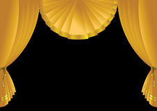 Stage curtain. Vector illustration of golden yellow stage curtain over black background Stock Image