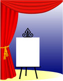 Stage Curtain and Easel. Background illustration of an old-fashioned stage setting with an easel such as those used in variety shows to identify the stage act Stock Image