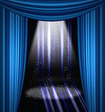 Stage curtain with light and shadow Royalty Free Stock Images