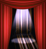 Stage curtain with light and shadow Stock Photo