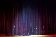 Stage curtain and microphones Royalty Free Stock Photography