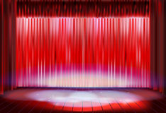 Stage curtain before the performance. Vector illustration. Stock Images