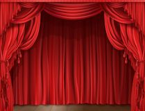Stage curtain realistic. Closed red stage curtain realistic illustration. Grand opening concept, performance or event premiere poster, announcement banner stock images
