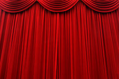Stage curtain. Red cinema and stage curtain background texture Royalty Free Stock Photos