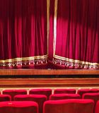 Stage curtain. Red velvet stage curtain at the opera Royalty Free Stock Images