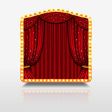 Stage curtain in shining banner with golden frame vector illustration Royalty Free Stock Photography