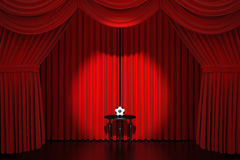 Stage curtain with soccer ball Royalty Free Stock Photography
