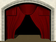 Stage Curtains. An empty stage awaits the arrival of your product.  Computer Generated Image, 3D models Stock Photos