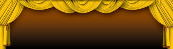 Stage curtains. Beautiful golden theater curtains background Royalty Free Stock Image