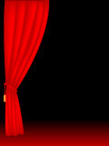 Stage curtains. Red velvet stage theater curtains on black background Stock Photos