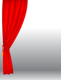 Stage curtains. Red velvet stage curtains on gray background - vector Stock Photography