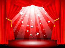 Stage curtains. Red velvet stage curtains on black background - vector