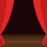 Stage curtains with brown wooden floor vector illustration