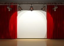 Stage with curtains and lighting Stock Photo
