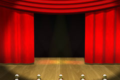 Stage, Curtains & Lights. Stage with Red Curtains and Stage Lighting.  Wood floor and black background Royalty Free Stock Photography